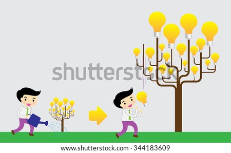 light bulb tree. Bright New Ideas Concept. Businessman harvest of thought. - stock vector