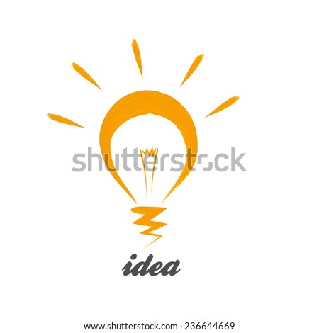 Light bulb vector design logo template on white background.  Emblem symbol. Vector light bulb icon with concept of idea.Vector illustration - stock vector