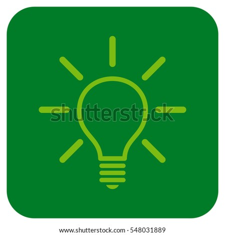 Light Bulb vector icon. Image style is a flat icon symbol in a rounded square button, light green and green colors.
