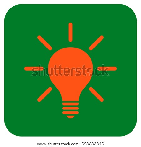 Light Bulb vector icon. Image style is a flat icon symbol in a rounded square button, orange and green colors.