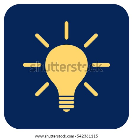 Light Bulb vector icon. Image style is a flat icon symbol inside a rounded square button, yellow and blue colors.