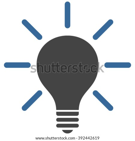 Light Bulb vector icon. Image style is bicolor flat light bulb pictogram drawn with cobalt and gray colors on a white background.
