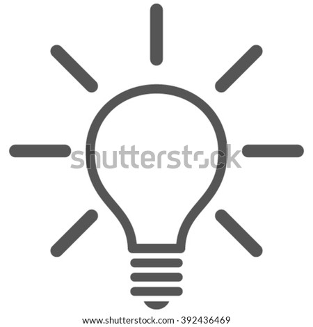 Light Bulb vector icon. Image style is flat light bulb pictogram drawn with gray color on a white background.