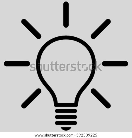 Light Bulb vector icon. Image style is flat light bulb pictogram symbol drawn with black color on a light gray background.