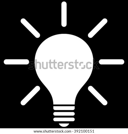 Light Bulb vector icon. Image style is flat light bulb pictogram symbol drawn with white color on a black background.