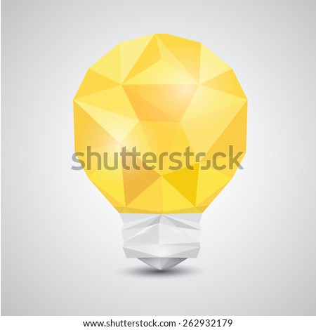 Light bulb vector icon low poly style. Idea icon origami style on white - stock vector