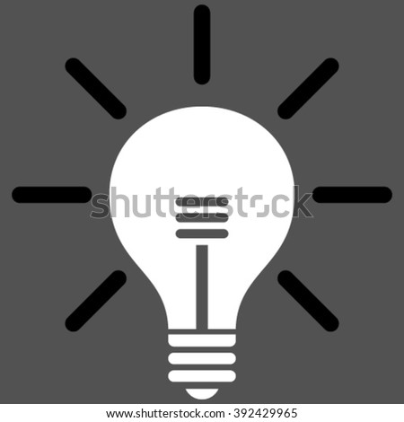 Light Bulb vector icon. Picture style is bicolor flat light bulb icon drawn with black and white colors on a gray background.