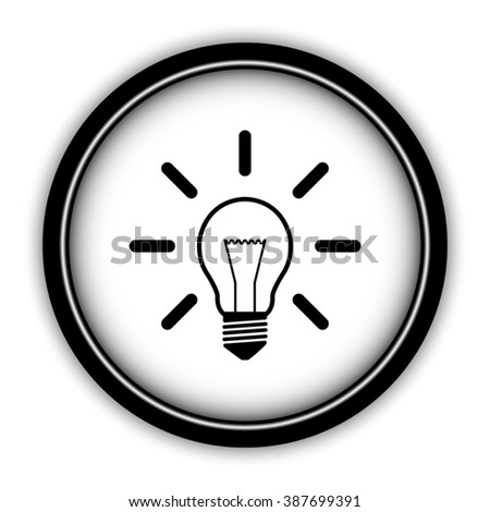 Light bulb - vector icon; round  button with shadow - stock vector