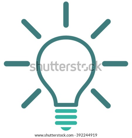 Light Bulb vector icon. Style is bicolor flat icon symbol, cobalt and cyan colors, white background.