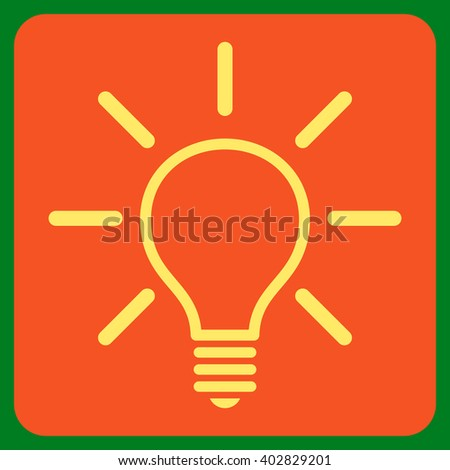 Light Bulb vector icon symbol. Image style is bicolor flat light bulb icon symbol drawn on a rounded square with orange and yellow colors.