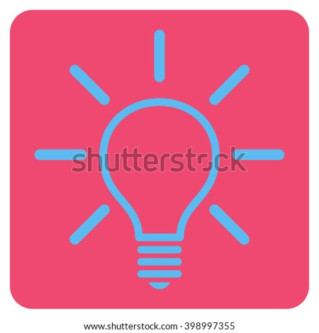 Light Bulb vector icon symbol. Image style is bicolor flat light bulb iconic symbol drawn on a rounded square with pink and blue colors.