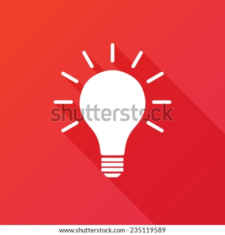 Light bulb vector idea icon. Modern flat icon with long shadow effect - stock vector