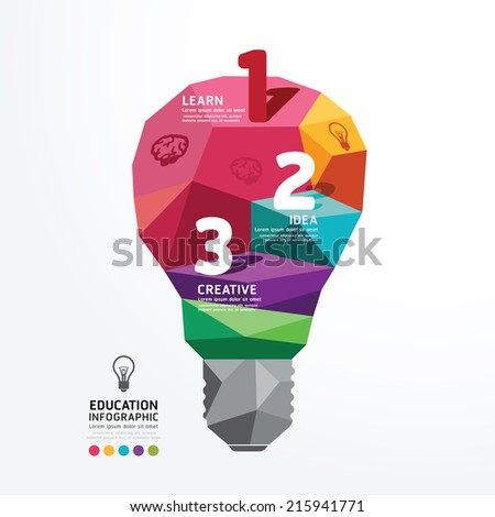 light bulb Vector infographic Design Conceptual Polygon Style,Abstract vector Illustration - stock vector