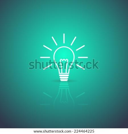 Light bulb white vector icon on green background - stock vector