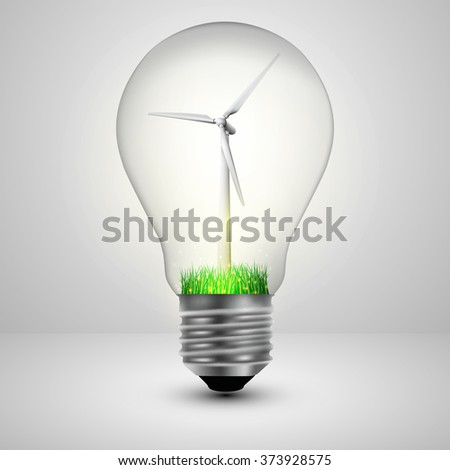 Light bulb with a wind turbines in side ecology concept. Vector illustration.