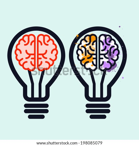 Light bulb with brain and blots inside - creativity symbol - stock vector