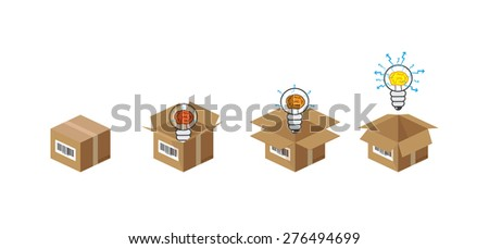 light bulb with brain in the paper box, set of,  vector - stock vector