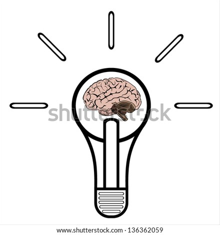 Light bulb with brain vector icon, idea concept - stock vector