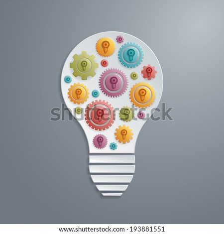 Light bulb with cogs gears. Creativity concept. - stock vector