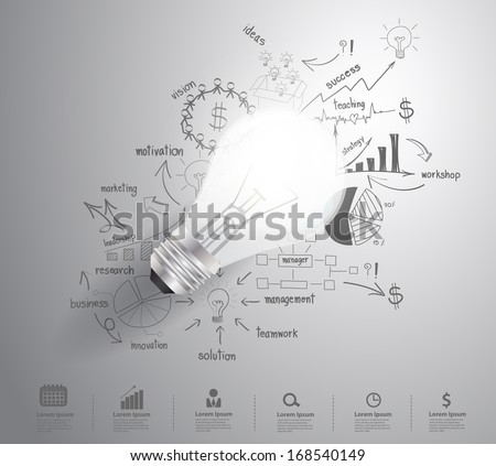 Light bulb with drawing business success strategy plan idea, Inspiration concept modern design template workflow layout, diagram, step up options, Vector illustration - stock vector