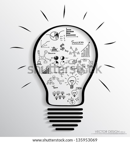 Light bulb with elements of infographics and graph. Vector illustration. - stock vector