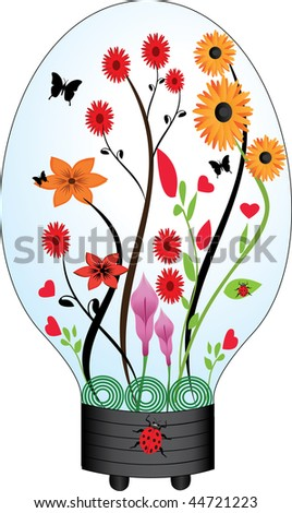 light bulb with flowers and plants inside - stock vector