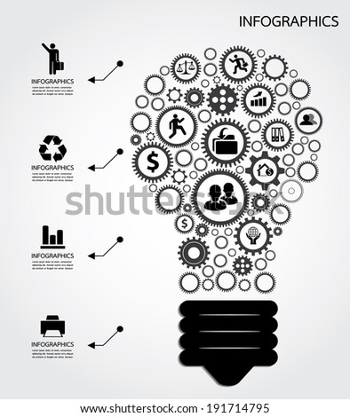 Light bulb with gears - stock vector