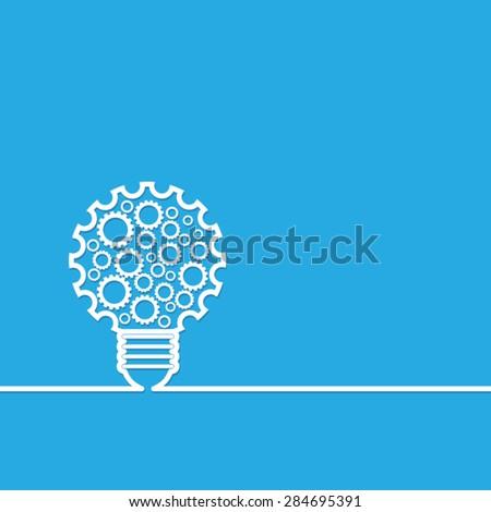 light bulb with gears - stock vector
