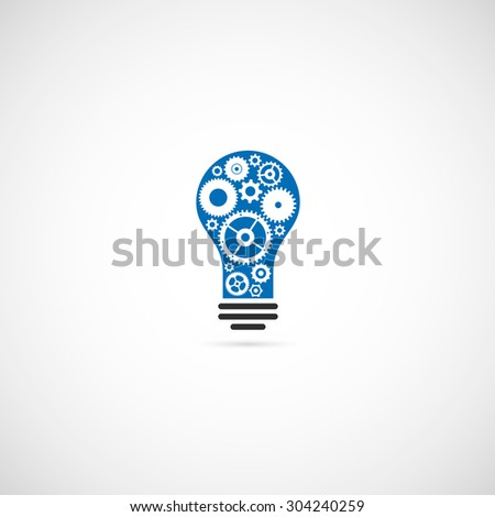 Light bulb with gears and cogs, teamwork concept. Isolated on white background. Vector illustration, eps 10. - stock vector