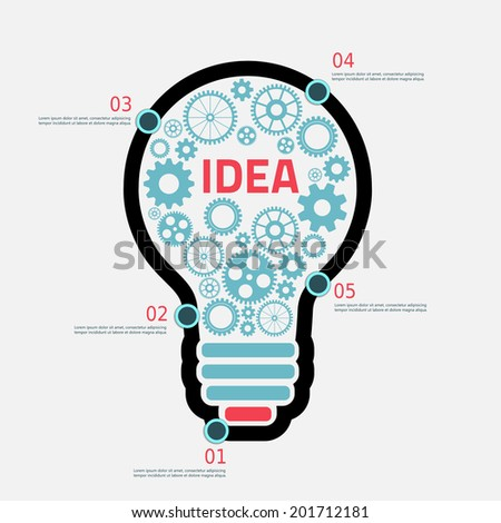light Bulb with gears and cogs working together, concept infographic background - stock vector