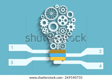 Light bulb with gears as a infographic, Eps10 Vector for your design - stock vector