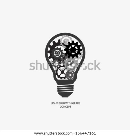 light bulb with gears concept vector - stock vector