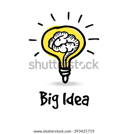 Light bulb with human brain, big idea concept, hand drawn sketch, vector illustration  - stock vector
