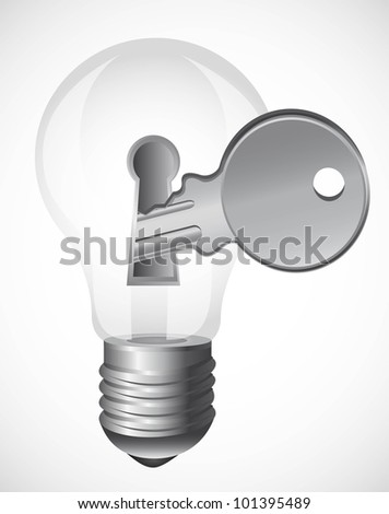 light bulb with key over gray background. vector illustration - stock vector