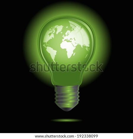 Light bulb with world inside isolated on black - stock vector