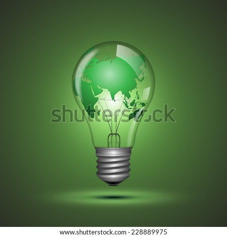 Light Bulb with World Map.vector