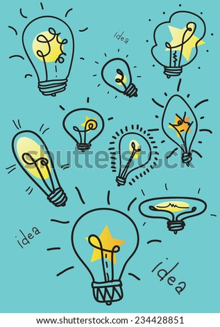 Light bulbs.A concept of invention of new ideas. - stock vector