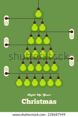 light bulbs arranged as  Christmas tree. save the trees - stock vector