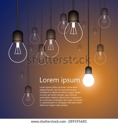 Light bulbs background - stock vector