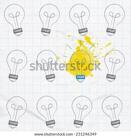 Light bulbs hand drawn on the squared paper. One is turned on, others turned off. Big idea concept. - stock vector