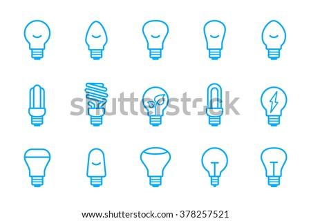 light bulbs icons - stock vector
