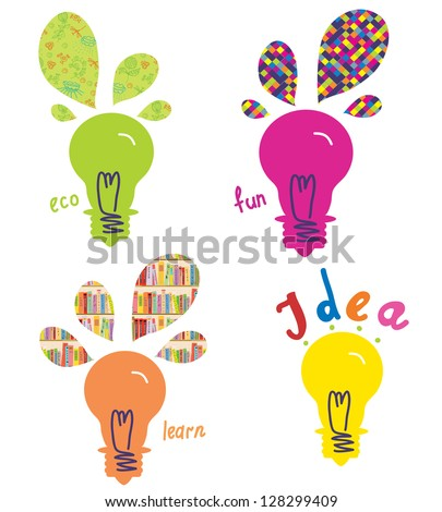 Light bulbs ideas and concepts funny design - stock vector