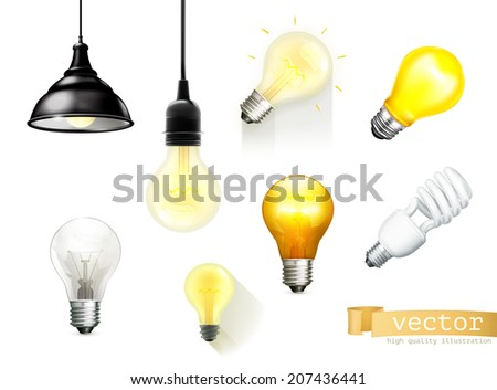 Light bulbs, set of vector icons - stock vector