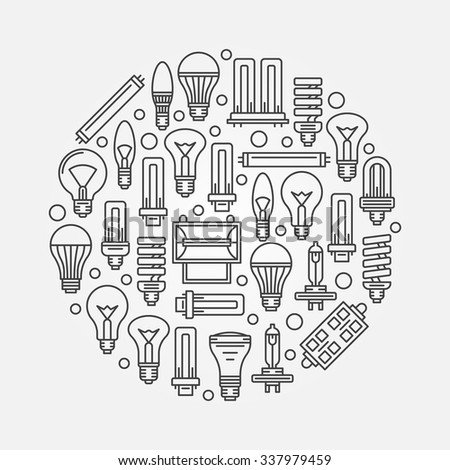 Light bulbs sign with outline bulb icons - vector linear illustration or logo element - stock vector