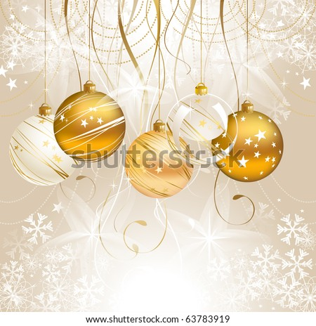 light Christmas backdrop with five balls - stock vector