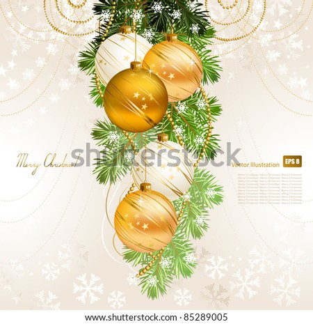 light Christmas background with gold and white evening balls - stock vector