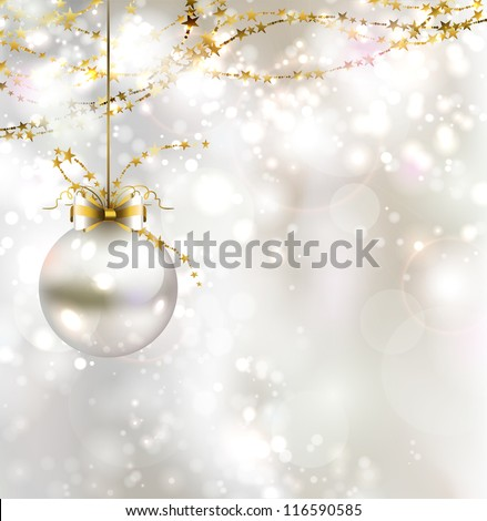 light Christmas background with light evening ball - stock vector