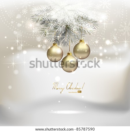 light Christmas background with silver evening balls - stock vector
