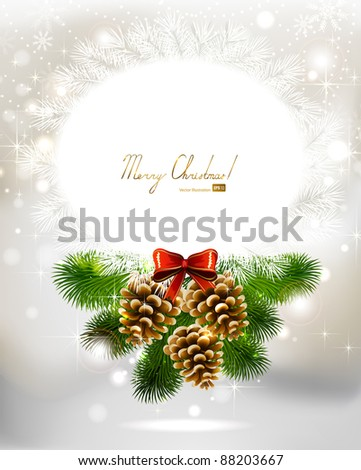 light Christmas background with three cones and fir tree - stock vector