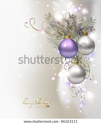 light Christmas background with three  evening balls - stock vector
